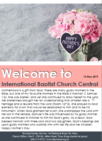 Cover of IBC Central Mother's Day Bulletin for the 12 May 2019 with a image of bouquet of pink carnations wth a label saying Happy Mother's Day