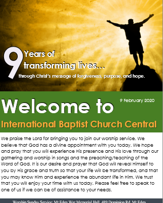 IBC Central Auckland Bulletin 9 February 2020